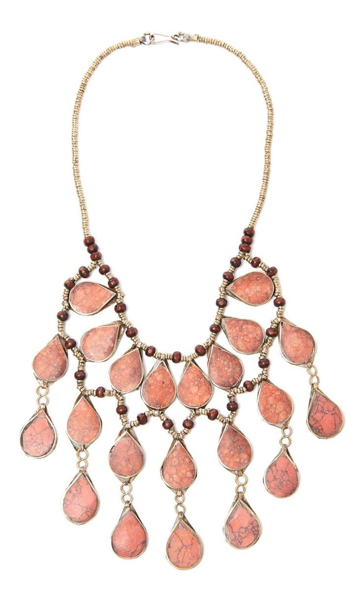 Red Base Metal And Wood Bead Waterfall Necklace