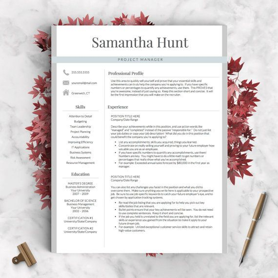 Professional Resume Template for Word & Pages: The Samantha ✓ Instant Download CV Template ✓ US Letter & A4 Templates included ✓ 1, 2, or 3 Page Resume! ✓ Mac & PC Compatible using Microsoft Word or Pages for Mac!  This professional resume template is just what you need to freshen up that old resume! Creative and stylish while still being professional, youre guaranteed to stand out with this CV template. ★★★★★ ❝ I got the job! I LOVED my resume and it took the stress out of starting from…