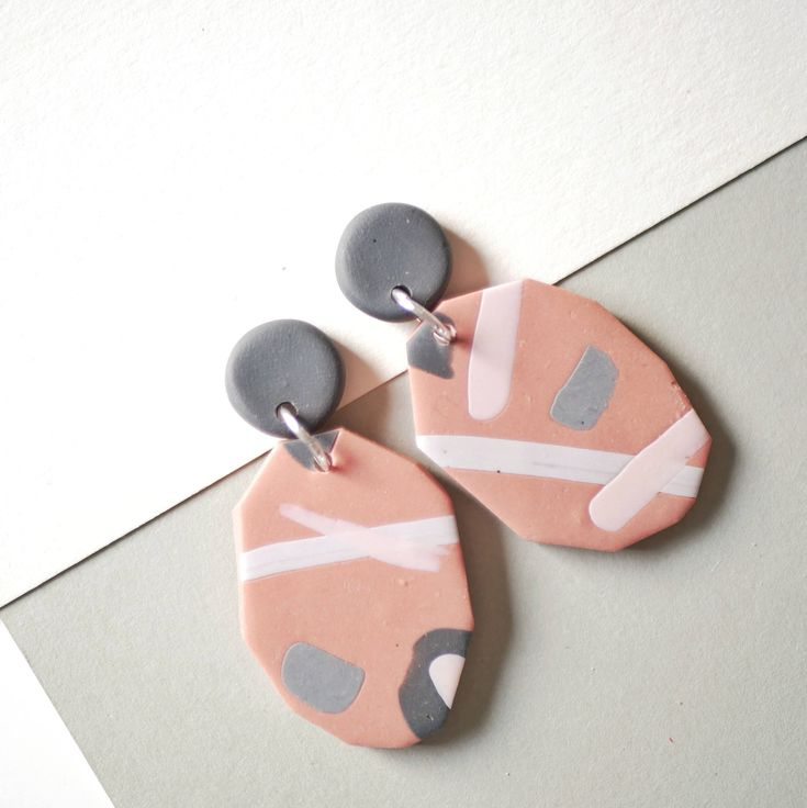Excited to share the latest addition to my #etsy shop: Blush pink earrings, geometric earrings, abstract earrings, elegant statement earrings, drop dangle earrings, polymer clay earrings, gift