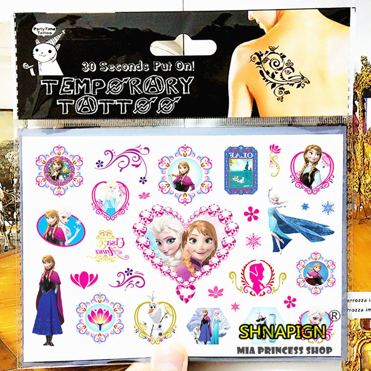 Froze Elsa Anna Temporary Tattoo Stickers Kids 17*10cm Waterproof Princess Stickers Tatoo For Children prince FREE SHIPPING