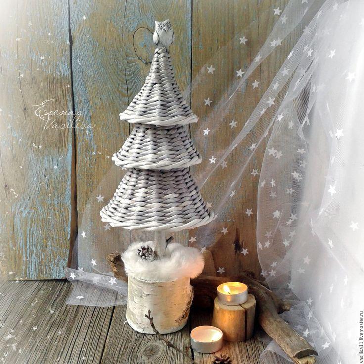 Купить Елочка Заснеженная плетеная новогодняя - елочка новогодняя, елка, плетеная, настольная