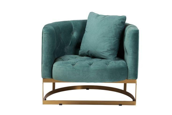 Bach occasional chair in peacock blue velvet design tree