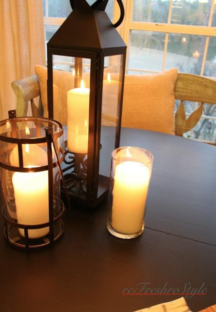 Refinish kitchen table-- I just love  the lanterns