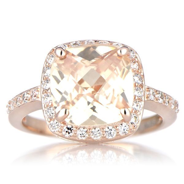 try marinas rose gold cushion cut engagement ring peach cz features a stunning peach cushion cut cz stone - High Quality Cubic Zirconia Wedding Rings