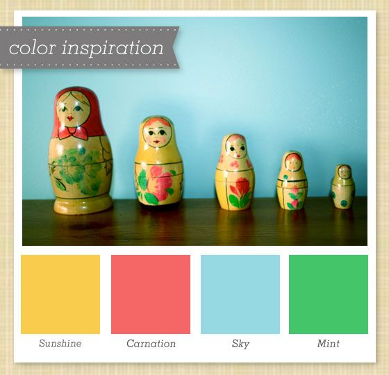 Sunshine, Carnation, Sky and Mint Color Palette 7 by Sarah Hearts