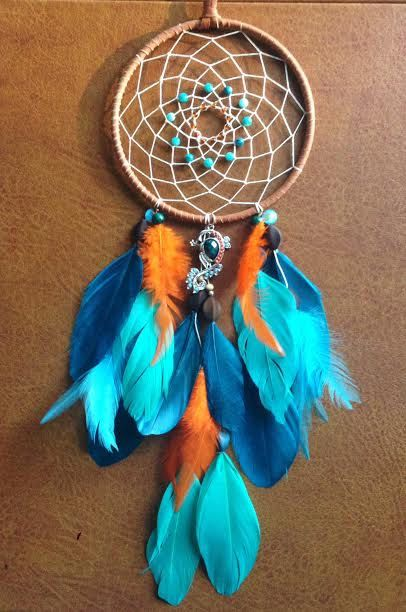 Dream Catcher - Peacock - Blue and Orange - Modern - Beaded