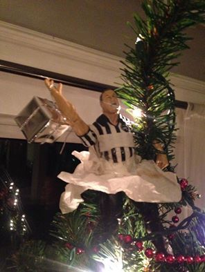 Every year Earl Hebner adorns the top of our Christmas tree. This year he has a tutu. #tree