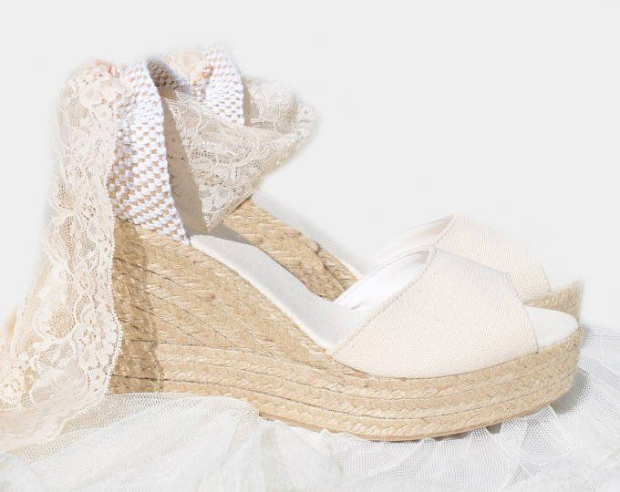 Anna Medium Peep Toe Ivory Lace Platform Wedge Ecru Wedge Wedding Shoes Peep Toe Espadrilles Wedding Shoes Platform