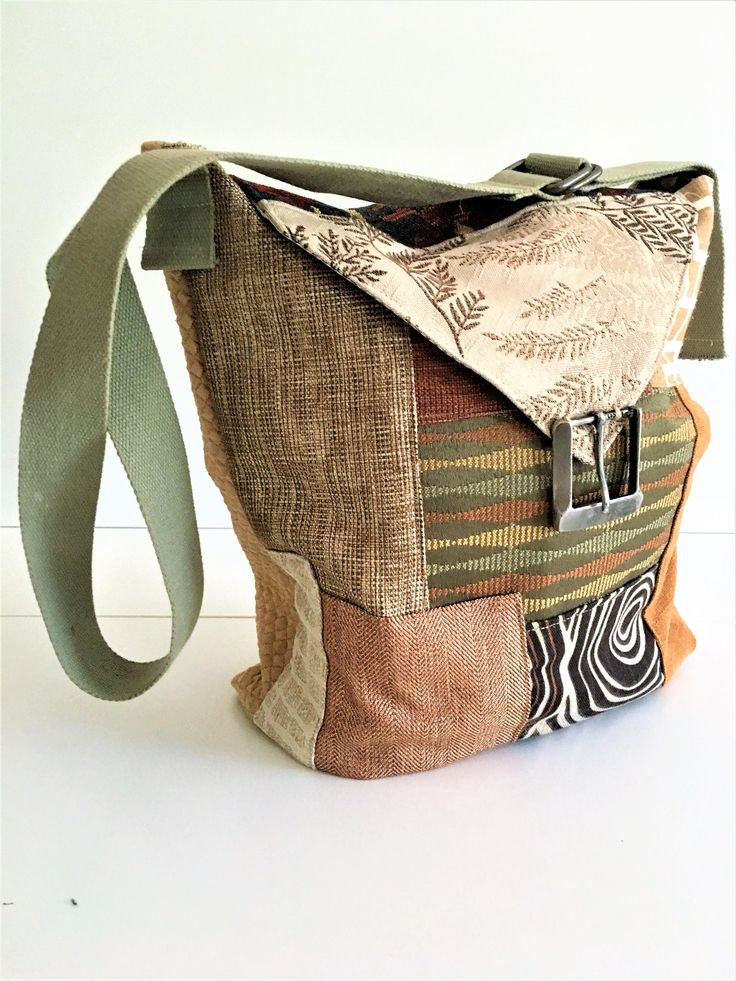 Patchwork Bag - Crossbody Bag - Fabric Bags - Brown Tan and Green - Adjustable Strap - Handcrafted Bag - Birthday Gift - Large Size Bag by BellesabyBethany on Etsy