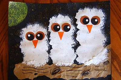 Painted snow owls