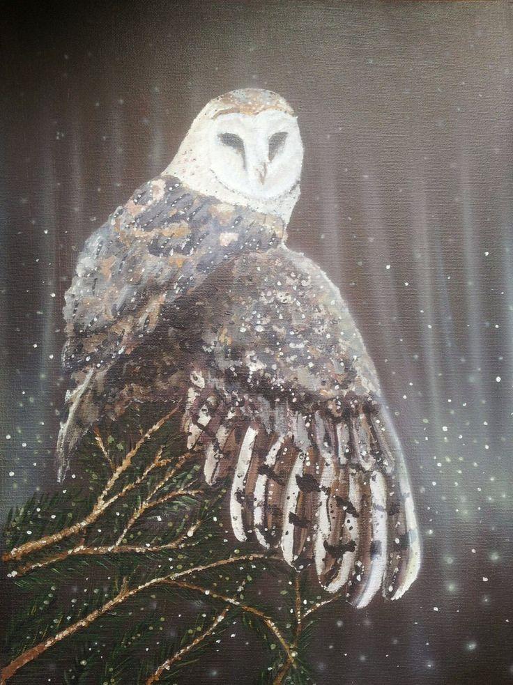 Barn Owl Сова Сипуха 45*35 акрил, аэрография, холст