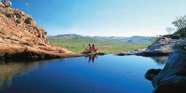 Gunlom Plunge Pool, Jabiru, Northern Territory, Australia   After a steep climb to the top of the falls, be rewarded with amazing views of Kakadu National Park as you relax into the cool waters of the natural pools. There are also tree-shaded picnic areas to relax in after the climb.