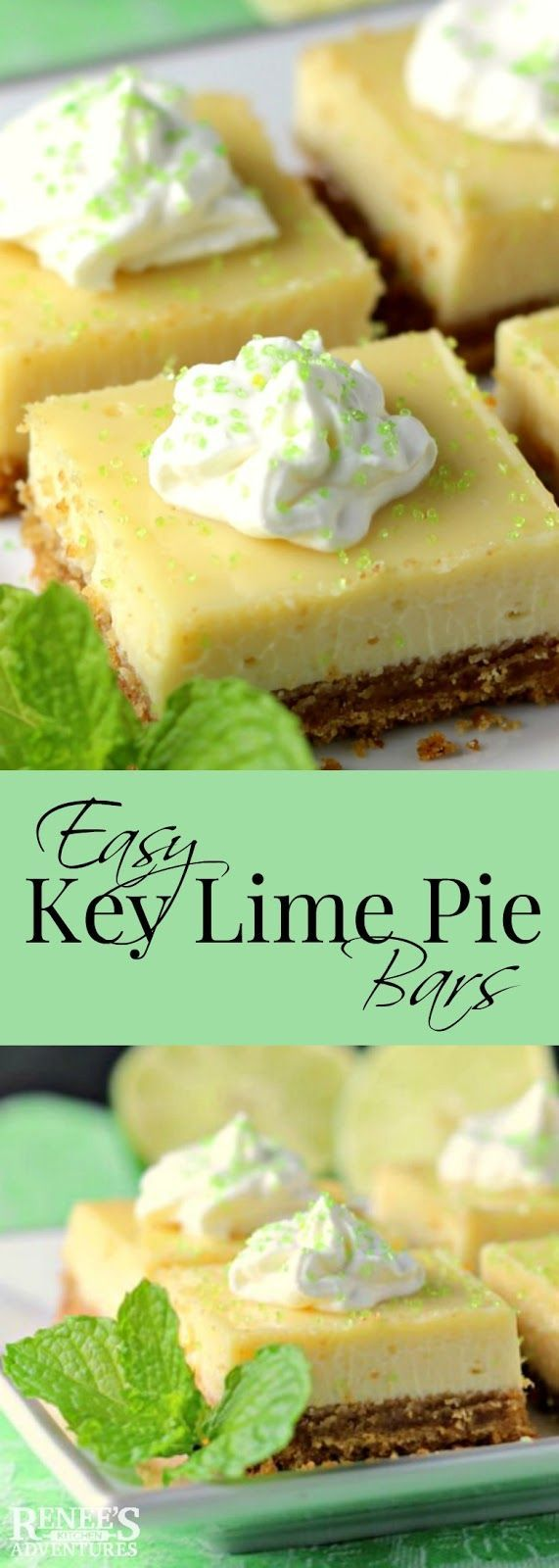 Easy Key Lime Pie Bars   Renee's Kitchen Adventures - easy dessert recipe for key lime pie bars made with key lime juice, condensed milk and eggs. #dessert #lime