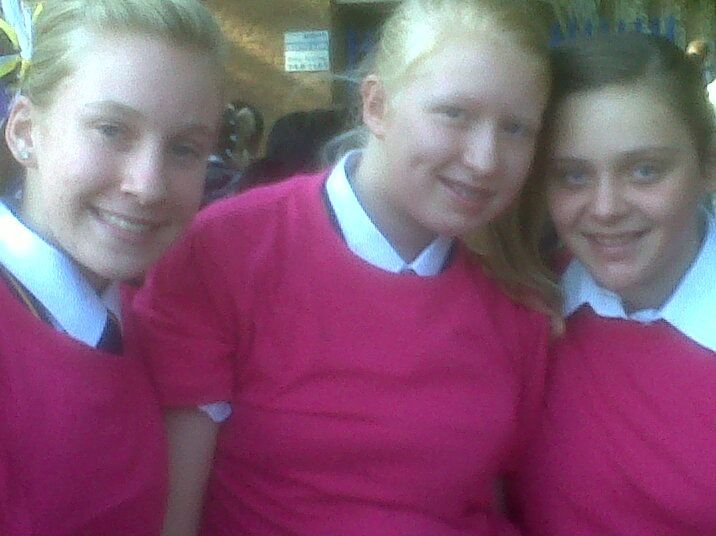 Our first day in high school - gr 8 and already they treat us like palookas! My two friends from primary school, Karma Botha, Marleen Grove and me Karlien.