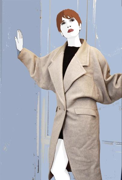 Cappotto di Versace primi anni '80. Color beige, con applicazione in pelle  tono su tono, sul collo. La parte superiore è molto ampia, spalle largh...