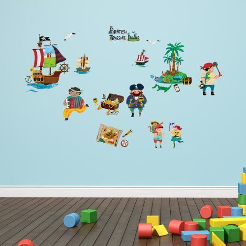 Decowall Pirates & Treasure Island Children's Wall Stickers Removable Decal 1310 #DecowallDW1310 #FairyTalesEducationalNurseryKidRoomArts