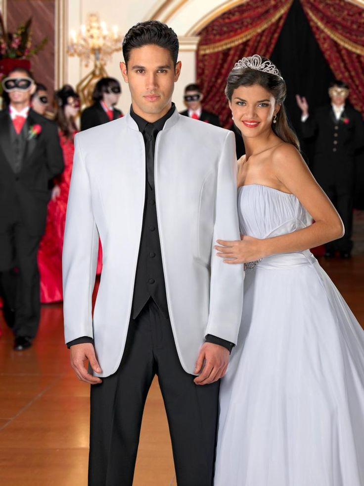 Trending White Mirage Tuxedo by Jean Yves White Mandarin Collar Tuxedo I could see Chance in this tux