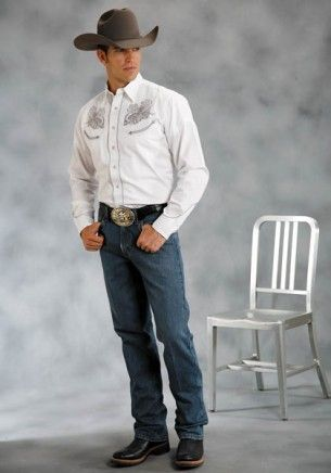 Tombstone:  Skull Roper Embroidered Men's Western Shirt - CLEARANCE