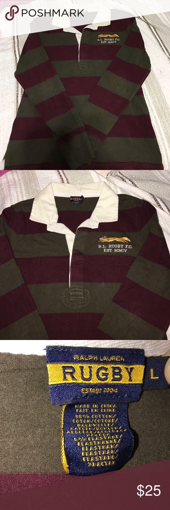 "Ralph Lauren ""RUGBY"" Shirt Women Rugby Shirt. Pre-owned classic shirt. Green/ Maroon Stripe Fox logo polo long sleeve shirt. Ralph Lauren Rugby  Tops"
