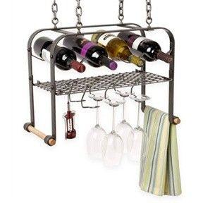 Hammered Steel - Hanging Wine/Accessories Rack (holds 4 bottles)