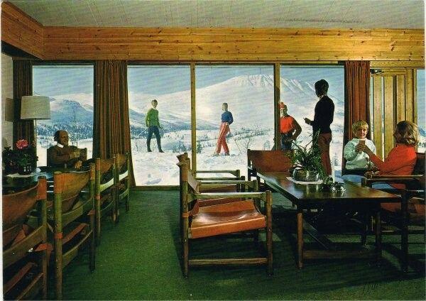 Telemark fylke Tinn kommune Rjukan Gaustablikk Høyfjellshotell interiør 1970-tallet Utg Normann