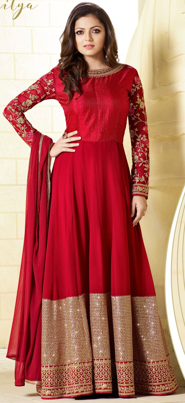 Drashti Dhami georgette deep pink floor length Anarkali suit with resham zari and squence work with neck and sleeves work and dupatta with lace work