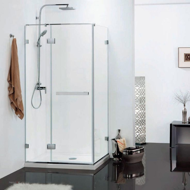 "36"" x 36"" Gael Square Shower Enclosure - with Tray - Right Hand Door - Polished Aluminum"