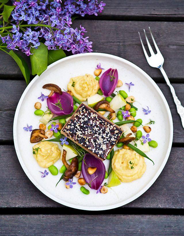Love the colors on this! Pork Belly with crispy skin, shiitakes, beans and a cream of parsnip ~ Bakad fläsksida med palsternackspuré, rödlökshjärtan och hasselnötter  #rapsgris #mat #cooking #recipe #food #foodpic #instafood #sverigesbästarapsgrisrecept #scan #pork #inspiration #SvenskRapsgris #swedismeat #pork #kött #svensktkött #meat #ilovemeat #feedfeed #eat #foodfeed #hungry #foodporn #dinner #yummy #sharefood #homemade