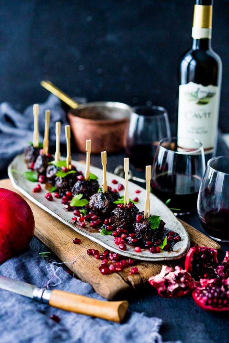 Moroccan Meatballs with Pomegranate Glaze- a festive holiday appetizer ( or turn into a meal) that can be made ahead! | www.feastingathome.com #Cavitwines #LivetheCavitLife