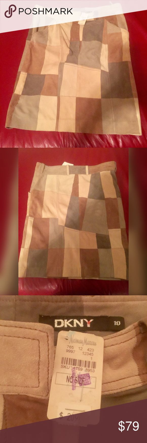 DKNY suede patchwork skirt. This darling skirt has never been worn. It would go great with some thigh high suede boots and a sweater. It is multicolored so you have options. It is a size 10 and is NWT. I bought it years ago from Neiman Marcus Last Call. DKNY Skirts