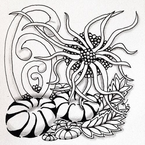 """#zentangle 2015-034, """"One Zentangle A Day"""" day 15. I'm finding I like learning/practicing the patterns one day and doing the tile the next. This one features pepper, squid and ynix with some tipple, mooka, and festune thrown in. 