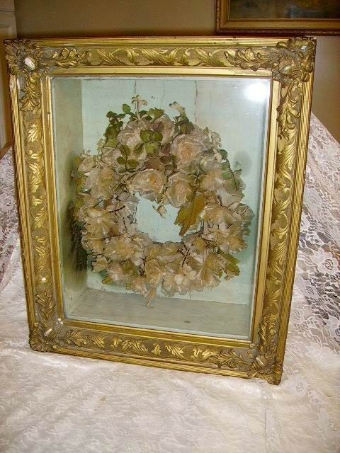 rare large1800s victorian wax flowers mourning wreath in shadowbox frame