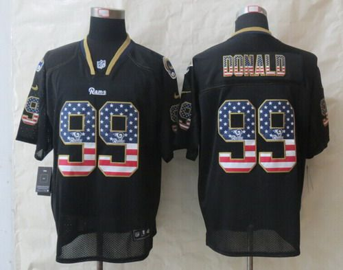 d2fd48c6e ... NFL Elite Vapor Jersey Nike St. Louis Rams 99 Aaron Donald 2014 USA  Flag Fashion Black Elite Jersey ...