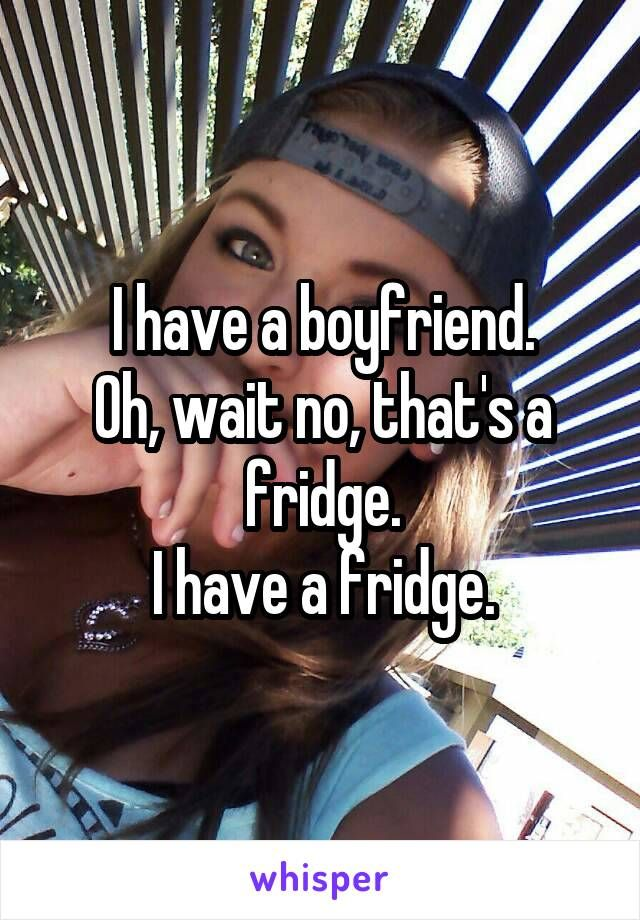 I have a boyfriend. Oh, wait no, that's a fridge. I have a fridge.
