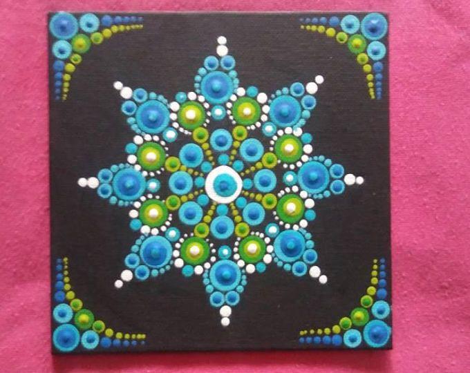 6x6 dot mandala on canvas panel | dot art | Mandala canvas