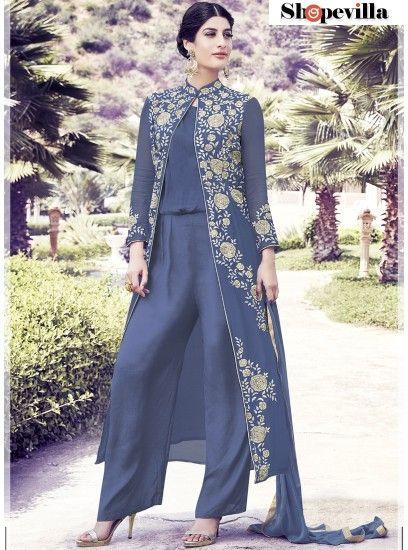 Impressive Light Blue Colour Semi Georgette Suit-33013