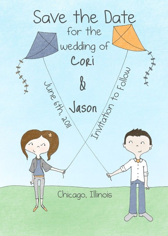Crossed Kites Illustrated Save the Date DIY by stefanieastronaut, $25.00