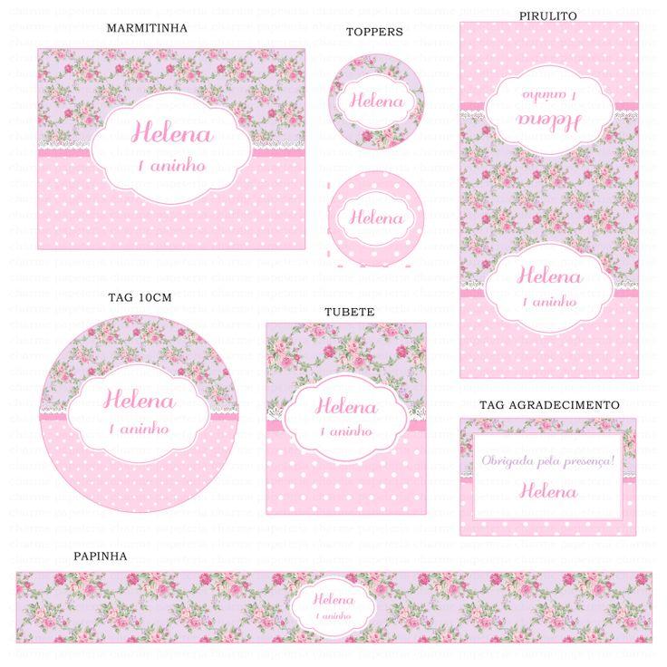 Kits Digitais Charme Papeteria - Floral Lilás e Rosa