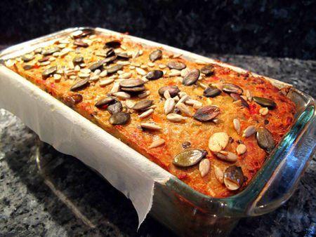 cake lentille corail - carotte - graines