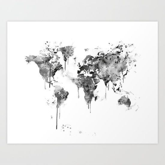 Collect your choice of gallery quality Giclée, or fine art prints custom trimmed by hand in a variety of sizes with a white border for framing. #worldmap #watercolor #art #print