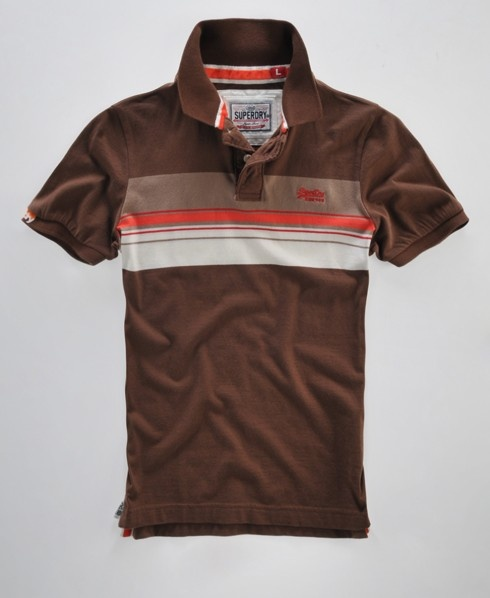 Men's Superdry Chestband polo shirt, with horizontal striped design, embroidered chest logo, two button fastening, sleeve logo tab and velvet neck taping.