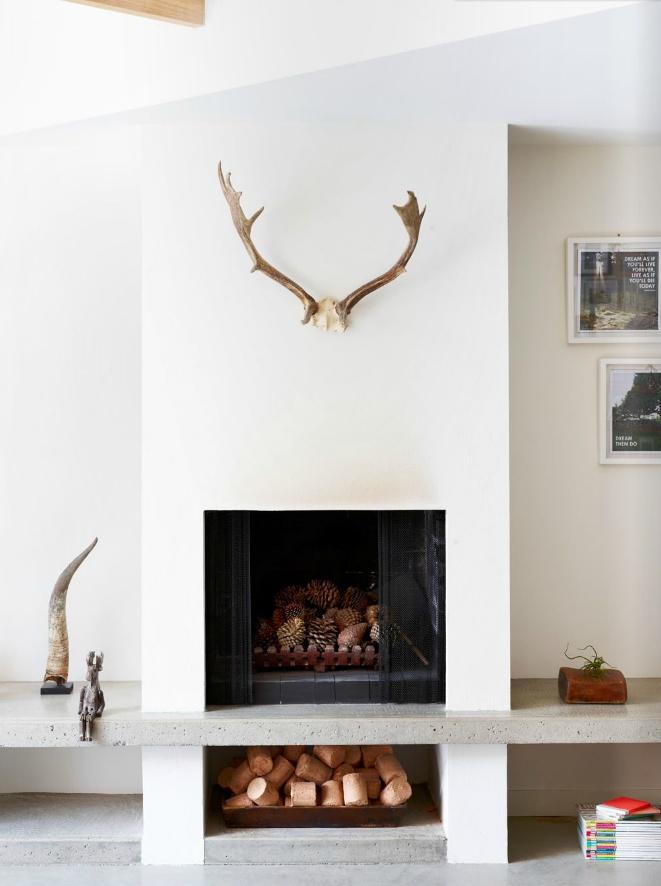 Pinecones in fireplace | Est Magazine