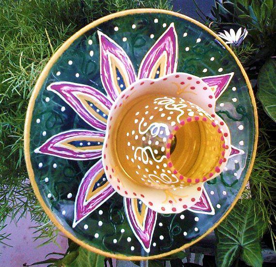 Garden Decor Glass Plate Flower For Your Garden By Pollysyardart, $30.00