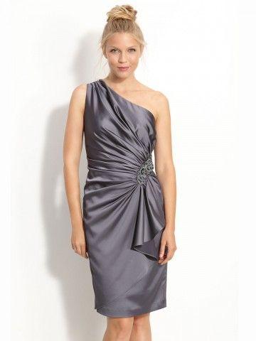(NO.020445 )Sheath / Column One Shoulder Beading  Sleeveless Knee-length  Elastic Woven Satin Light Slate Gray Cocktail Dress / Homecoming Dress