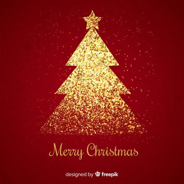 Download Golden Glitter Christmas Tree In Red Background For Free Diseno Grafico De Navidad Fondo Rojo Graficos De Navidad
