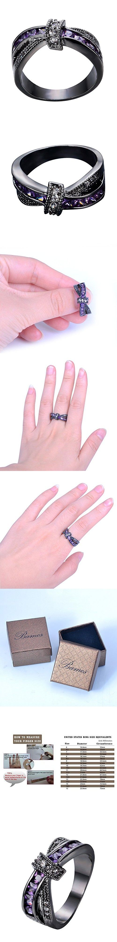 Bamos Jewelry Black Gold Purple Diamond Cut Halloween Best Friend Engagement Wedding Rings for Womens and Girls Size 8