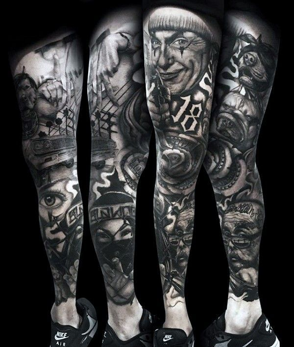 3cb439816 Heavily Shaded Chicano Money Rose Mens Full Leg Sleeve Tattoo ...