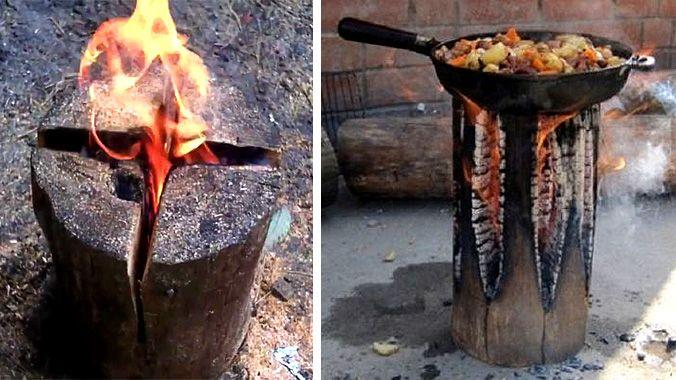 Överlevnadsknep: Så gör du upp en lägereld som brinner i timmar med en enda stock.