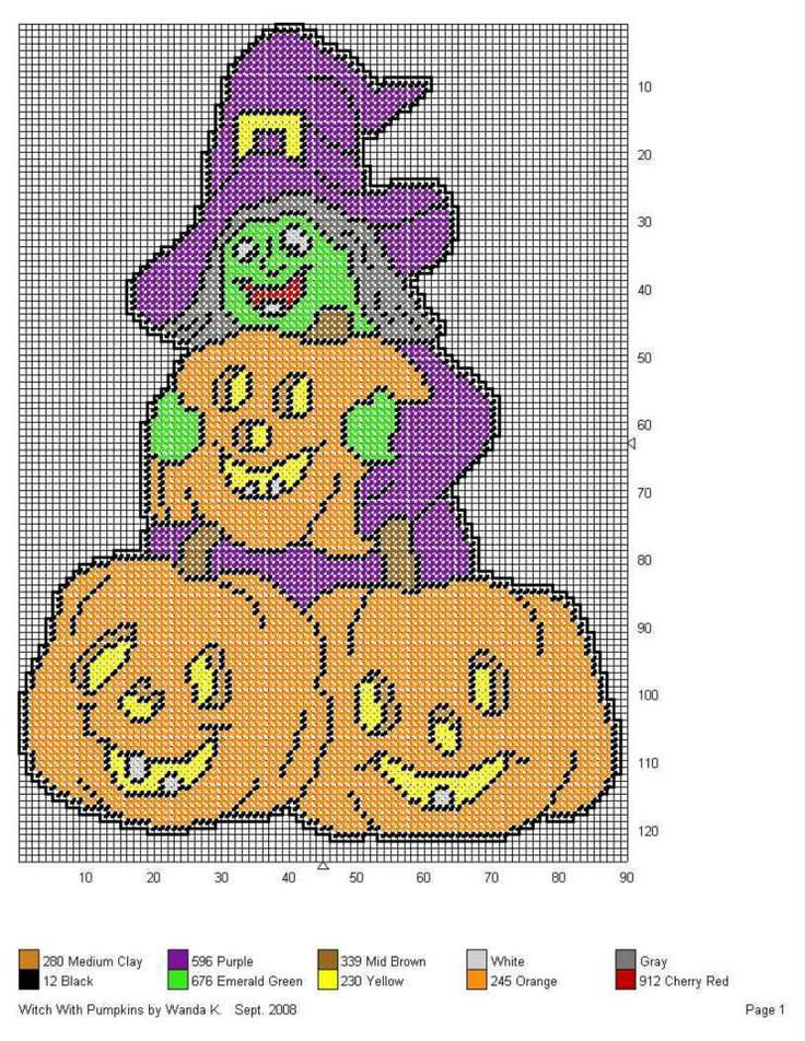 This is an image of Handy Free Printable Halloween Plastic Canvas Patterns