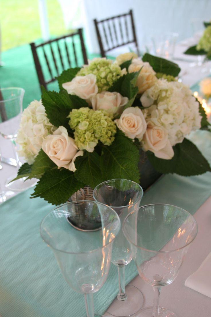 garden rose and hydrangea centerpiece